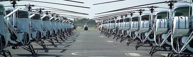 Rows of Schweizer Helicopters